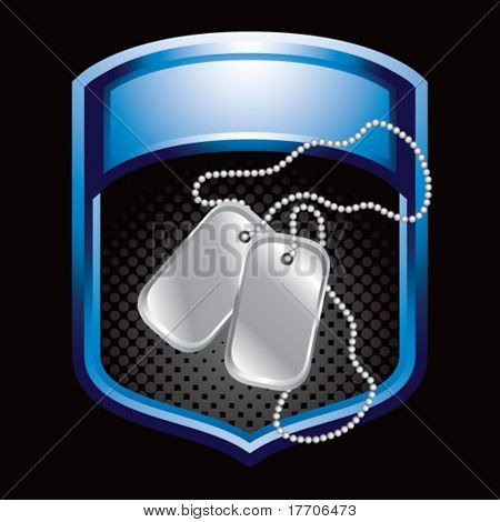 dog tags in blue display