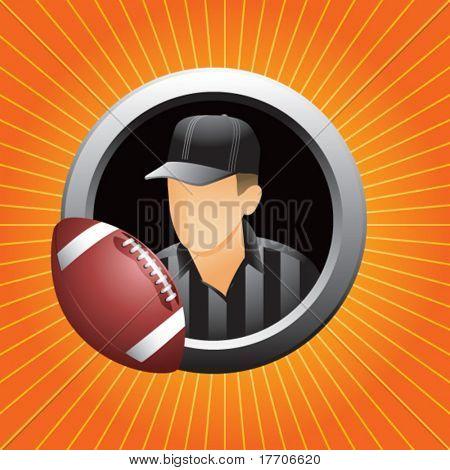 football referee on orange starburst