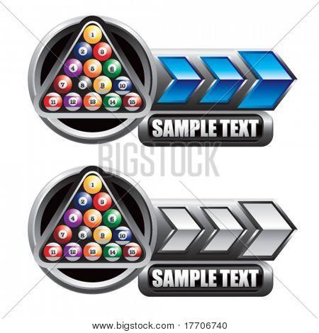 bolas de billar en estandartes de la flecha azul y plata