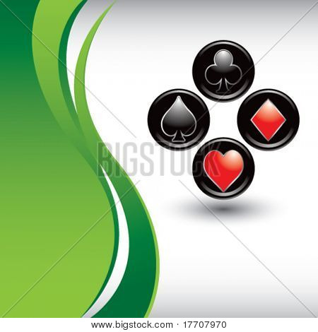 playing card suits on vertical green wave background