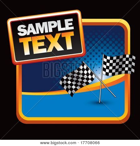 racing flags on halftone template background