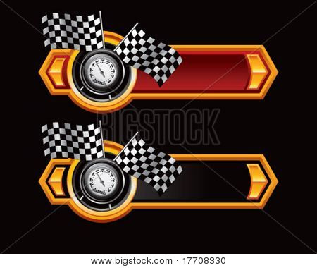 speedometer and checkered flags on red and black arrows