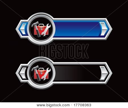 tools and toolbox on blue and black arrows