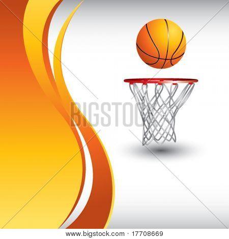 aro de baloncesto y pelota por telón de fondo de onda naranja