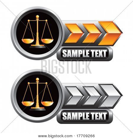 justice scales on gold and white arrow nameplate banners