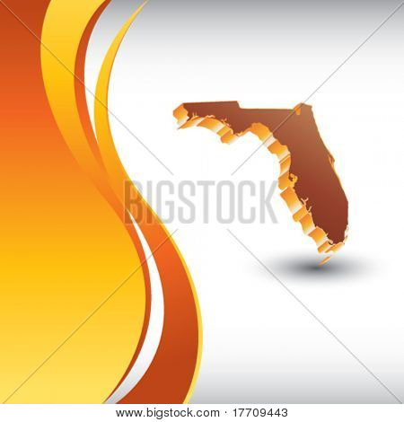 florida state shape on vertical orange wave