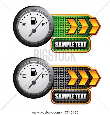 gas gauge on gold arrow nameplate banners