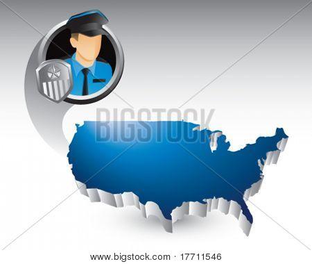 policial sobre o ícone de Estados Unidos