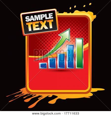 bar graph orange splattered advertisement