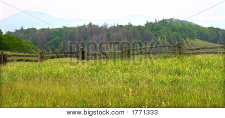 Rail Fence In Mountains