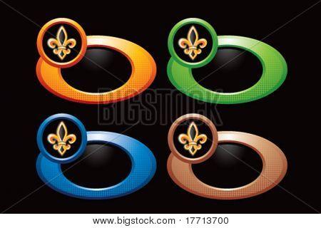 fleur de lis on colored rings