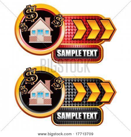 money house gold arrow checkered nameplates