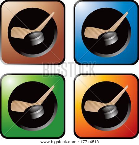 hockey stick and puck colored web buttons