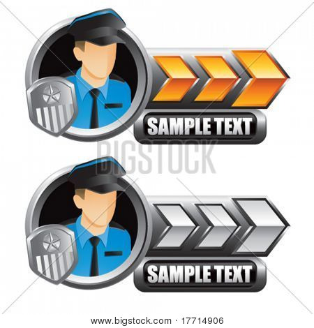 police officer gold and silver arrow nameplate banners