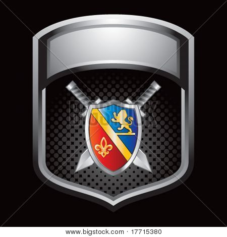 royal shield and swords silver shiny display