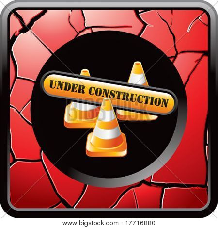 construction cones and sign red cracked web button