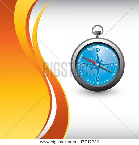 blue compass vertical orange wave background