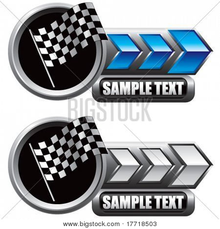racing checkered flag blue and white arrow nameplates
