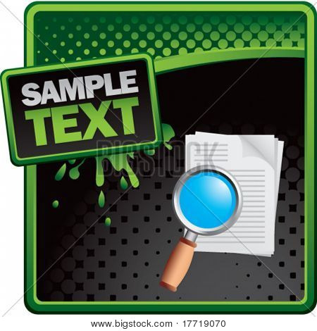 magnify documents green and black halftone grungy ad