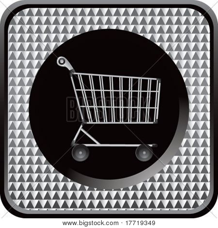 shopping cart silver checkered web button