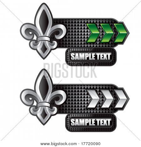 fleur de lis green and white arrow nameplate banners