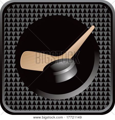 hockey stick and puck black checkered web button
