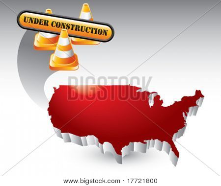 construction cones and sign red united states icon