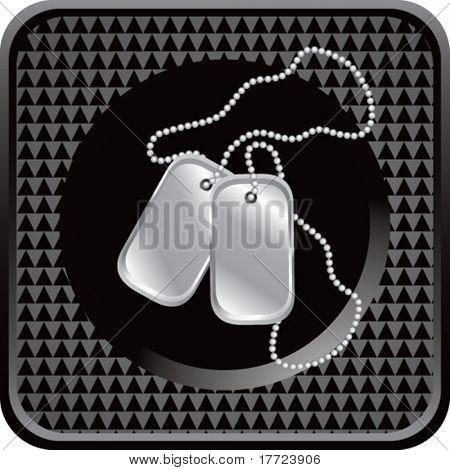 dog tags black checkered web icon