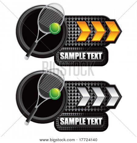 tennis racket on gold and silver arrow nameplates