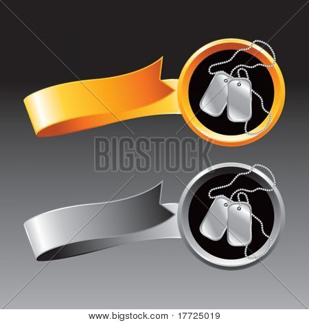 dog tags orange and gray ribbons