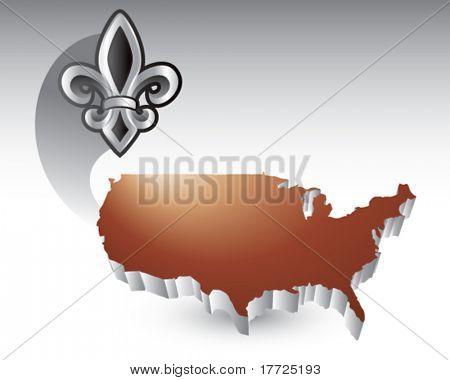 fleur de lis bronze united states icon
