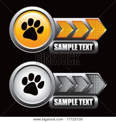 paw print orange and gray arrow nameplates