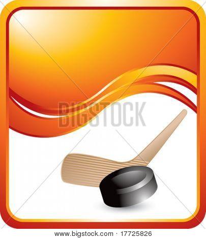 hockey stick and puck orange wave background