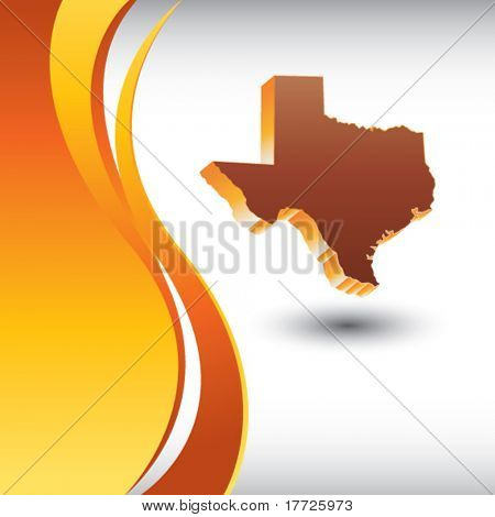 texas state on vertical orange backdrop