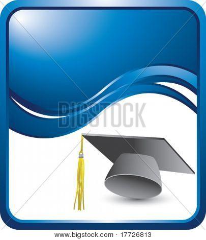 graduation cap blue wave background