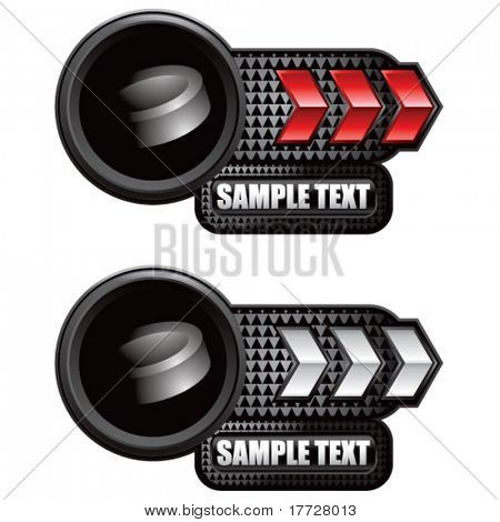 hockey puck red and white arrow nameplates