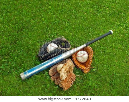 Play Ball A Bat With Three Gloves And Balls.