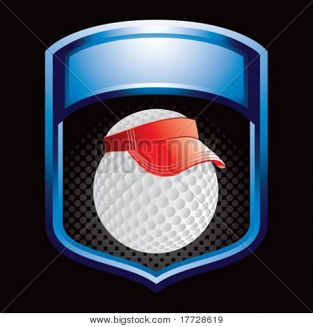 golf ball with visor on blue display