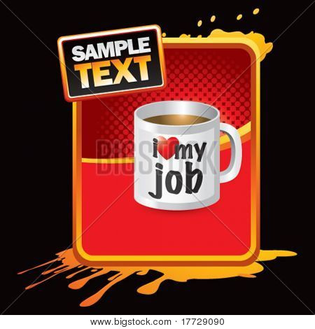 coffee cup red halftone grungy advertisement
