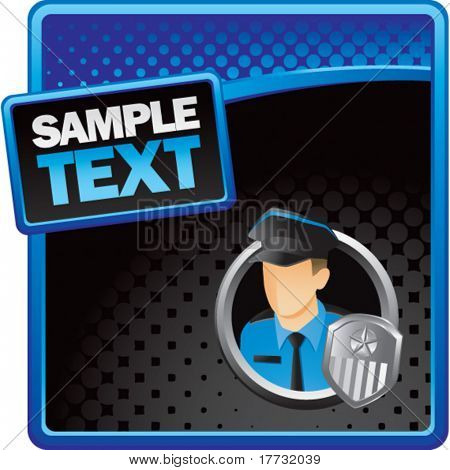 police officer blue and black halftone banner