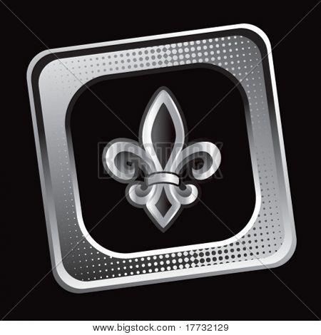 fleur de lis tilted silver web icon