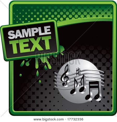 retro music notes green and black halftone grungy ad