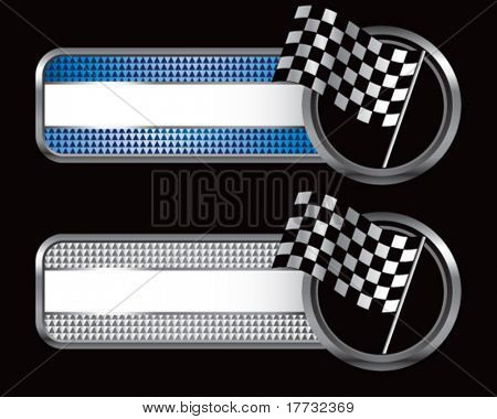 racing checkered flag blue and silver checkered banners