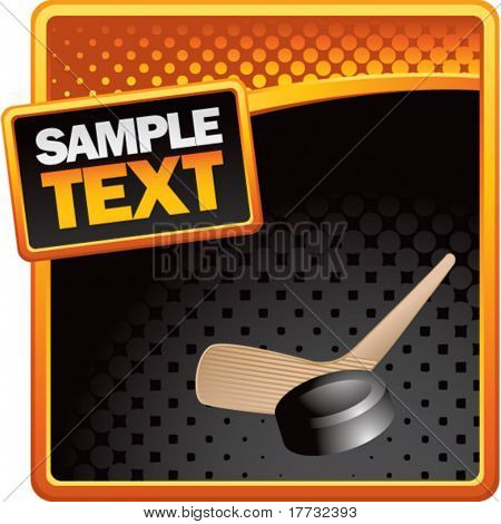 hockey stick and puck orange and black halftone advertisement