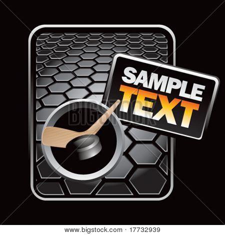 hockey stick and puck black hexagon advertisement