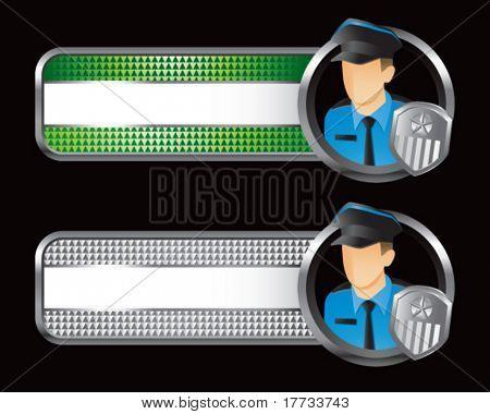 guias quadriculada verde e prata de policial