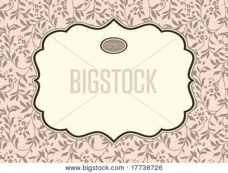 Vector Pastel Ivy Background and Ornate Frame. Easy to edit. Perfect for invitations or announcements.