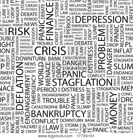 CRISIS  Seamless vector pattern with word cloud  Illustration with  different association terms  poster