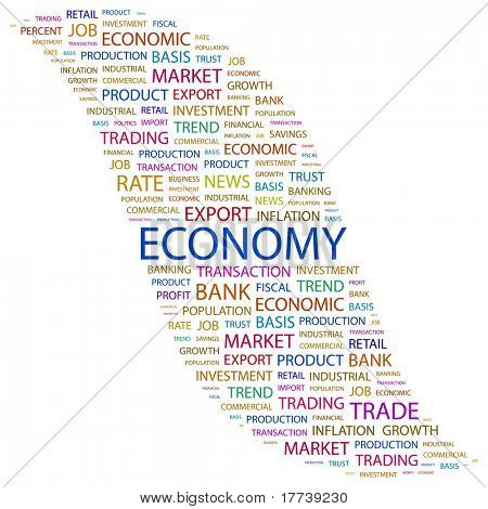 ECONOMY. Word collage on white background. Vector illustration. Illustration with different association terms.