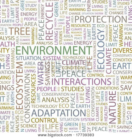 ENVIRONMENT. Seamless vector pattern with word cloud. Illustration with different association terms.